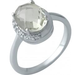 Серебряное кольцо SilverBreeze с натуральным зеленим аметистом (1995242) 17 размер