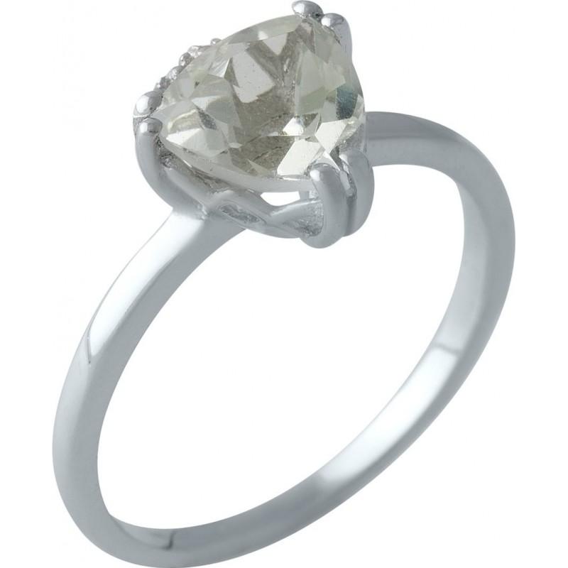 Серебряное кольцо SilverBreeze с натуральным зеленим аметистом (1995273) 18 размер