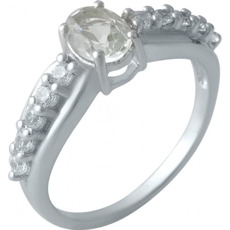 Серебряное кольцо SilverBreeze с натуральным зеленим аметистом (1995396) 17 размер