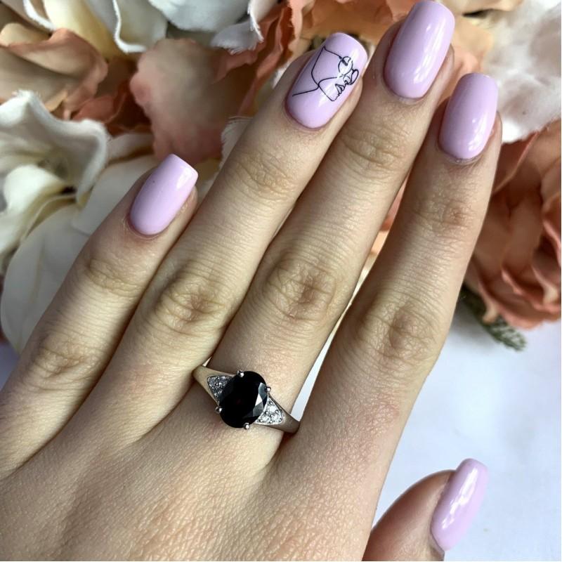Серебряное кольцо SilverBreeze с натуральным гранатом (1995778) 17 размер