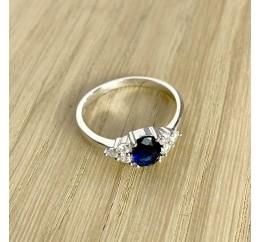 Серебряное кольцо SilverBreeze с сапфиром nano (1937716) 17.5 размер