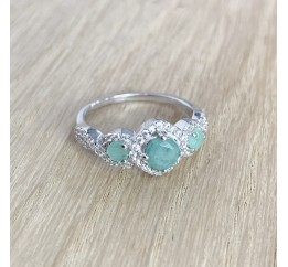Серебряное кольцо SilverBreeze с натуральным изумрудом (1988442) 17 размер