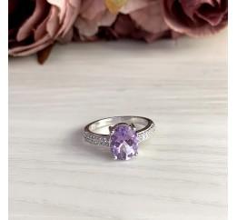 Серебряное кольцо SilverBreeze с натуральным аметистом (2007258) 17.5 размер