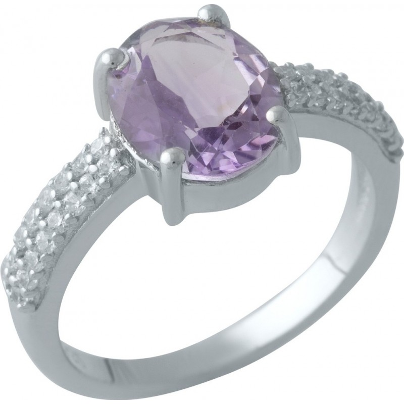 Серебряное кольцо SilverBreeze с натуральным аметистом (2007258) 17 размер