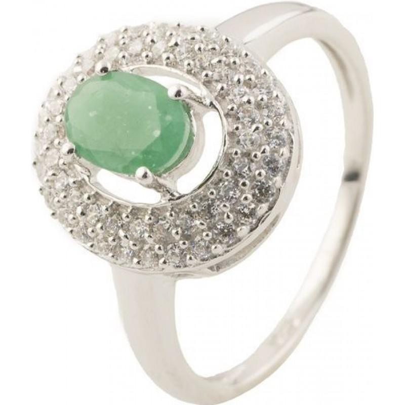 Серебряное кольцо SilverBreeze с натуральным изумрудом (1130148) 18 размер