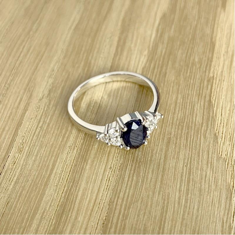 Серебряное кольцо SilverBreeze с натуральным сапфиром (1938263) 17 размер