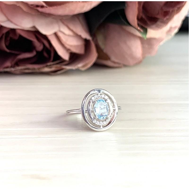 Серебряное кольцо SilverBreeze с натуральным топазом (2018650) 18 размер