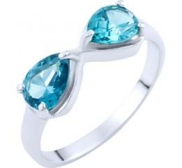Серебряное кольцо SilverBreeze с натуральным топазом Лондон Блю (1763834) 17 размер