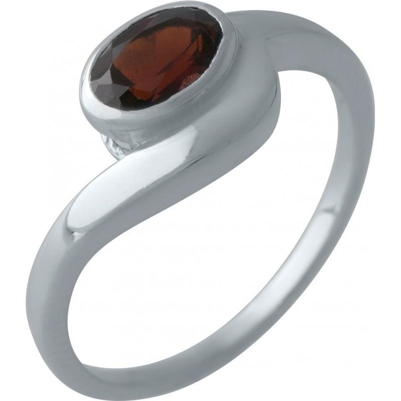 Серебряное кольцо SilverBreeze с натуральным гранатом (2002901) 17.5 размер