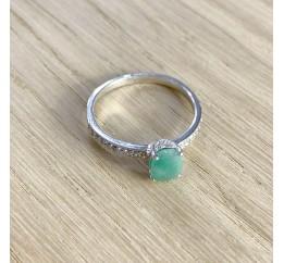 Серебряное кольцо SilverBreeze с натуральным изумрудом (1940556) 18 размер