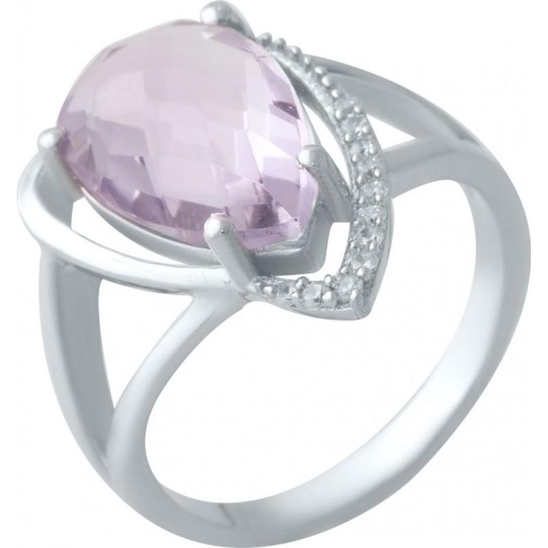 Серебряное кольцо SilverBreeze с натуральным аметистом (2020684) 18 размер