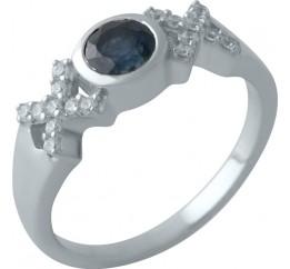 Серебряное кольцо SilverBreeze с натуральным сапфиром (2009016) 17.5 размер