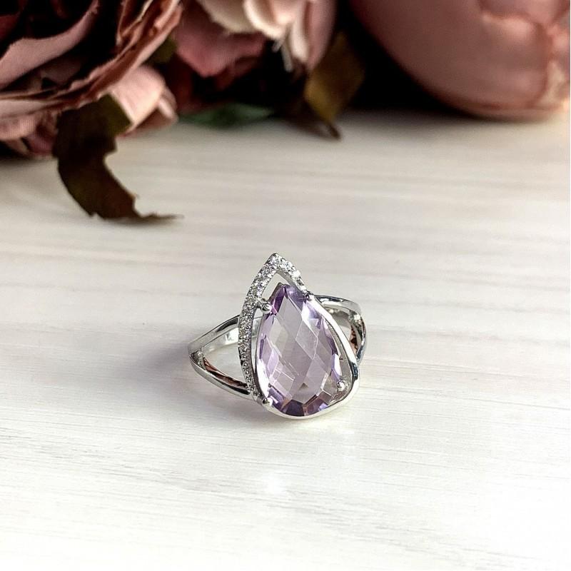 Серебряное кольцо SilverBreeze с натуральным аметистом (2020684) 17 размер