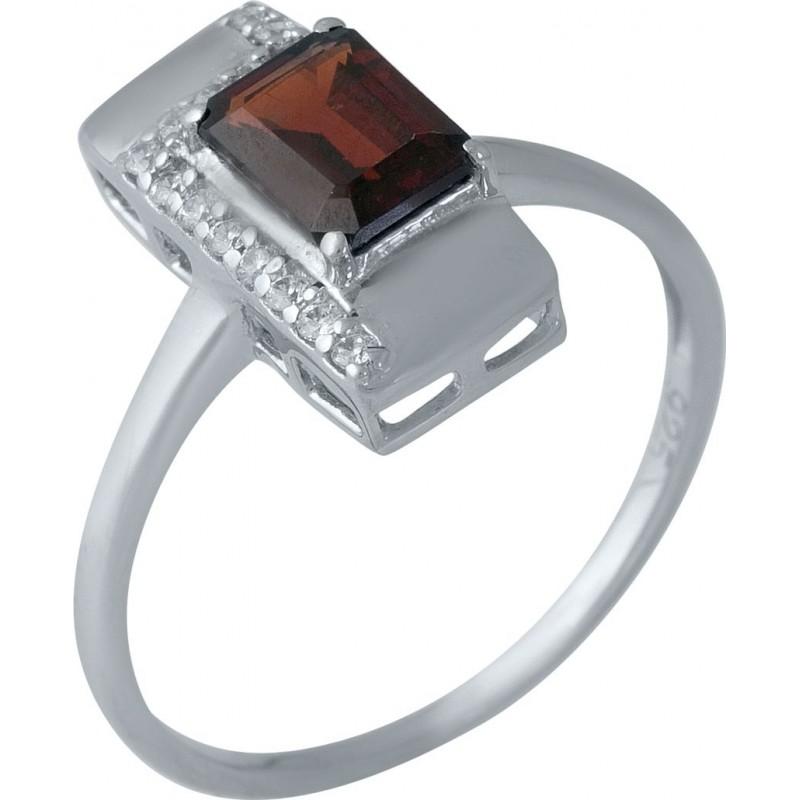 Серебряное кольцо SilverBreeze с натуральным гранатом (1989036) 17.5 размер