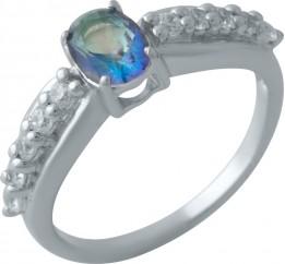 Серебряное кольцо SilverBreeze с натуральным мистик топазом (2013839) 18 размер