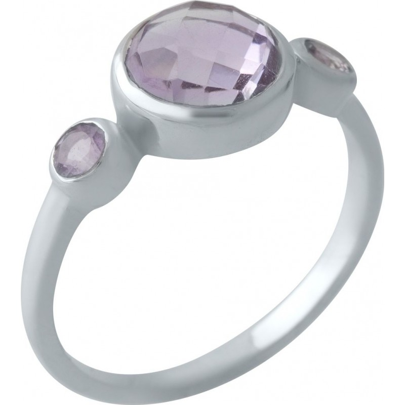 Серебряное кольцо SilverBreeze с натуральным аметистом (2007487) 18.5 размер