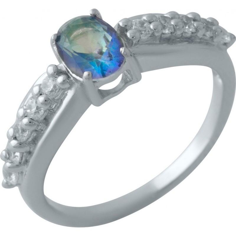 Серебряное кольцо SilverBreeze с натуральным мистик топазом (2013839) 17 размер