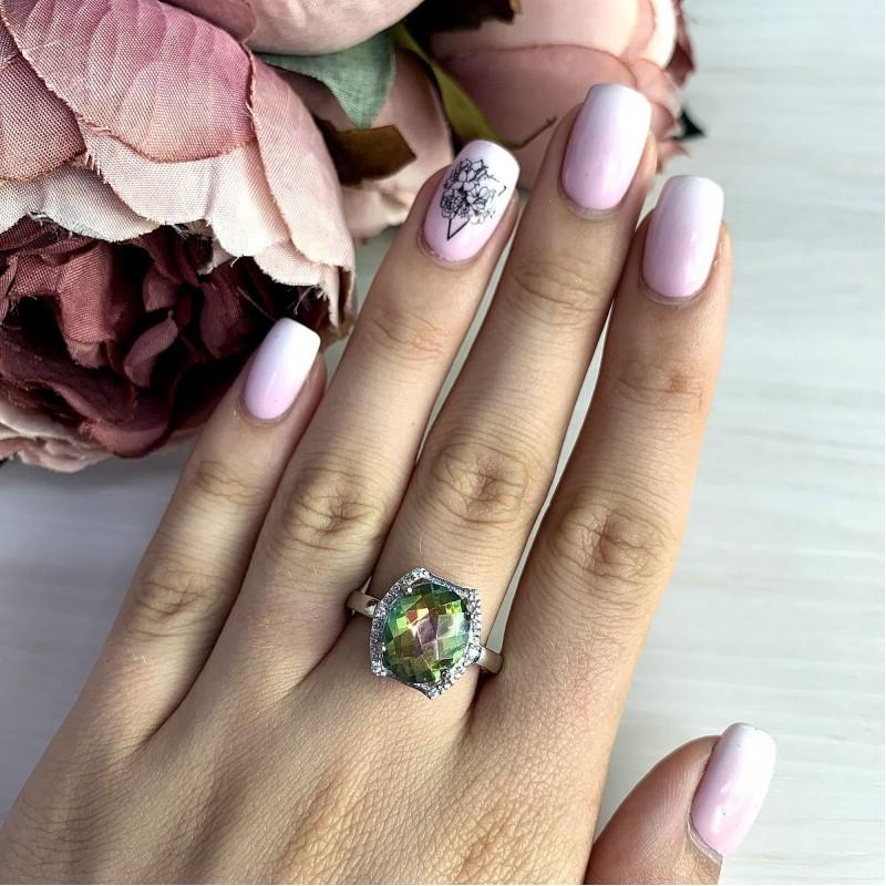 Серебряное кольцо SilverBreeze с натуральным мистик топазом (1997994) 17 размер