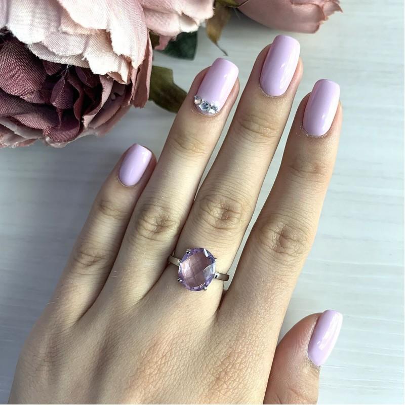 Серебряное кольцо SilverBreeze с натуральным аметистом (1965894) 18.5 размер