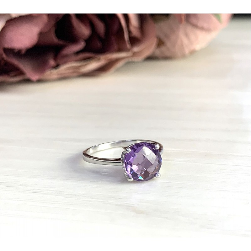 Серебряное кольцо SilverBreeze с олександритом (1825518) 18.5 размер