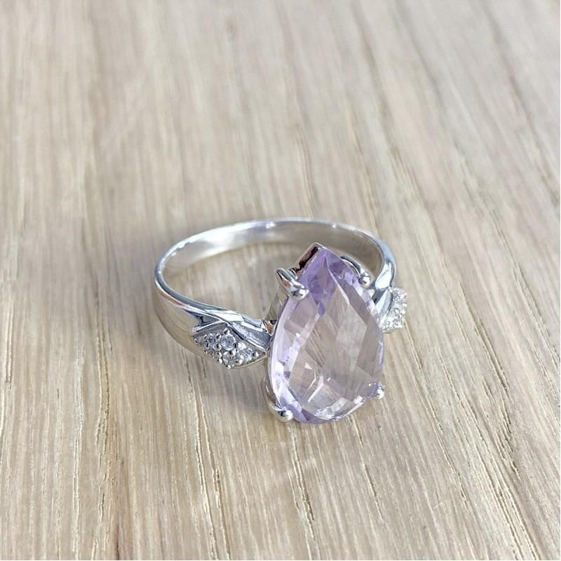 Серебряное кольцо SilverBreeze с натуральным аметистом (1966013) 18 размер