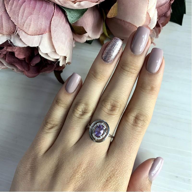 Серебряное кольцо SilverBreeze с натуральным аметистом (2020745) 17.5 размер