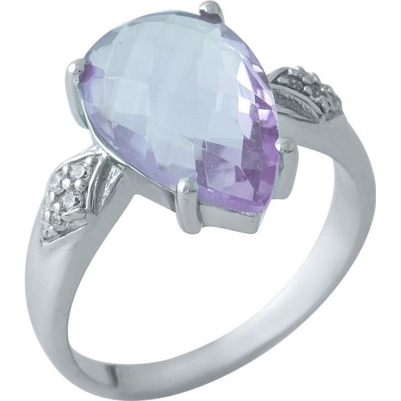 Серебряное кольцо SilverBreeze с натуральным аметистом (1966013) 17.5 размер