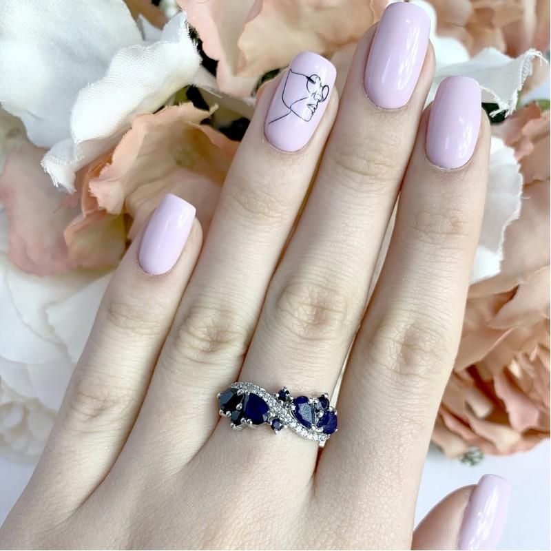 Серебряное кольцо SilverBreeze с натуральным сапфиром (2000617) 18 размер