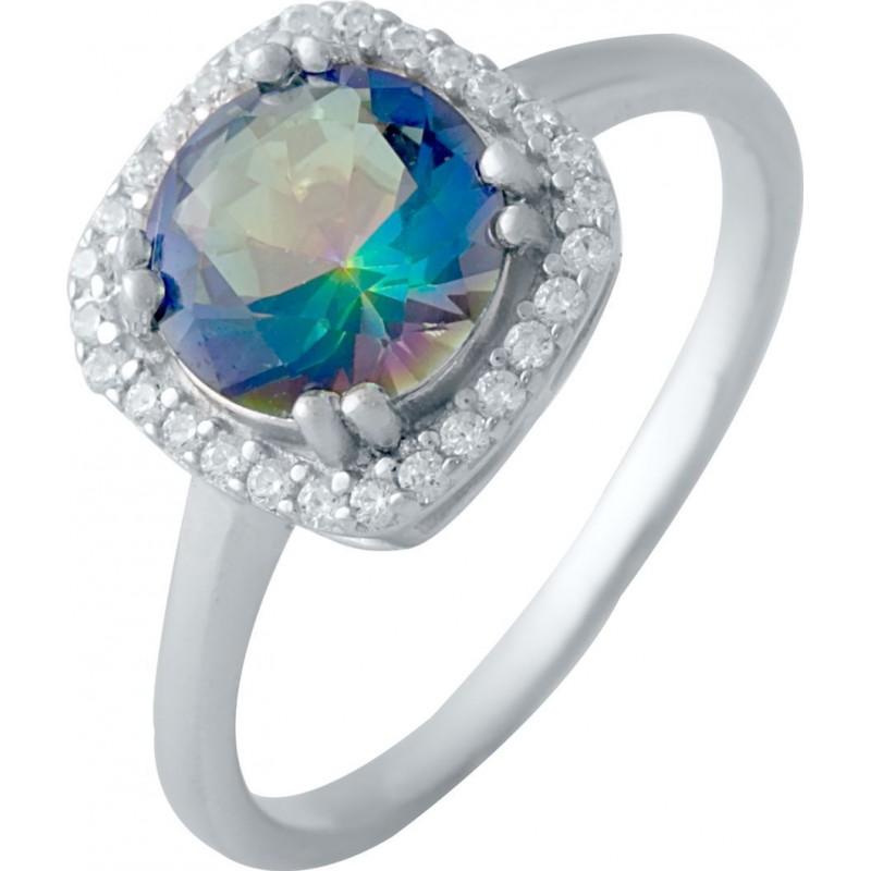 Серебряное кольцо SilverBreeze с натуральным мистик топазом (2017158) 18 размер