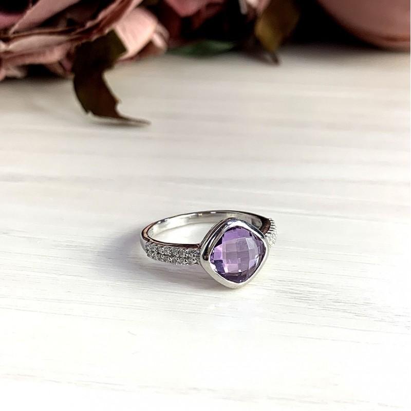 Серебряное кольцо SilverBreeze с натуральным аметистом (2020776) 18 размер
