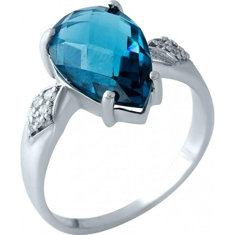 Серебряное кольцо SilverBreeze с натуральным топазом Лондон Блю (1966211) 17.5 размер