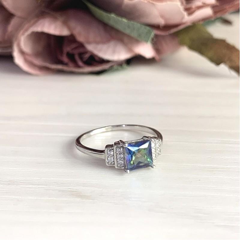 Серебряное кольцо SilverBreeze с натуральным мистик топазом (2017172) 17 размер