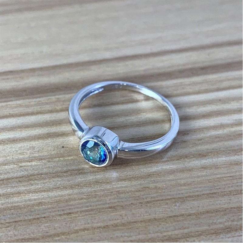 Серебряное кольцо SilverBreeze с натуральным мистик топазом (1838013) 17 размер