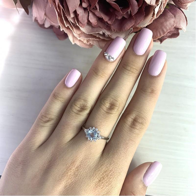 Серебряное кольцо SilverBreeze с натуральным топазом (2018896) 18 размер