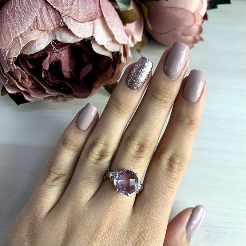 Серебряное кольцо SilverBreeze с натуральным аметистом (2020899) 17 размер