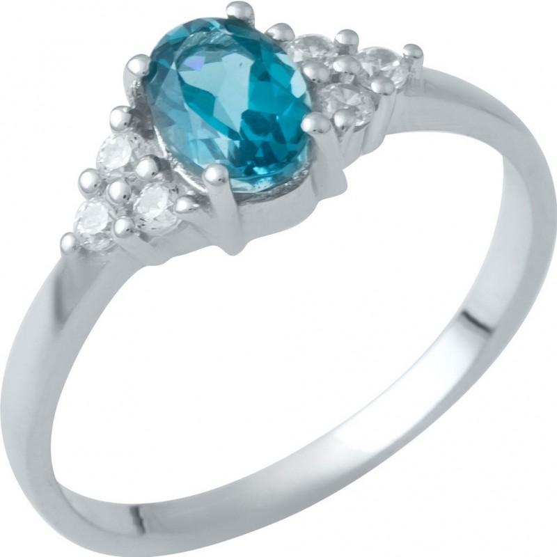 Серебряное кольцо SilverBreeze с натуральным топазом Лондон Блю (1949368) 18 размер