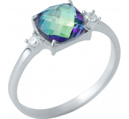 Серебряное кольцо SilverBreeze с натуральным мистик топазом (1949740) 17.5 размер