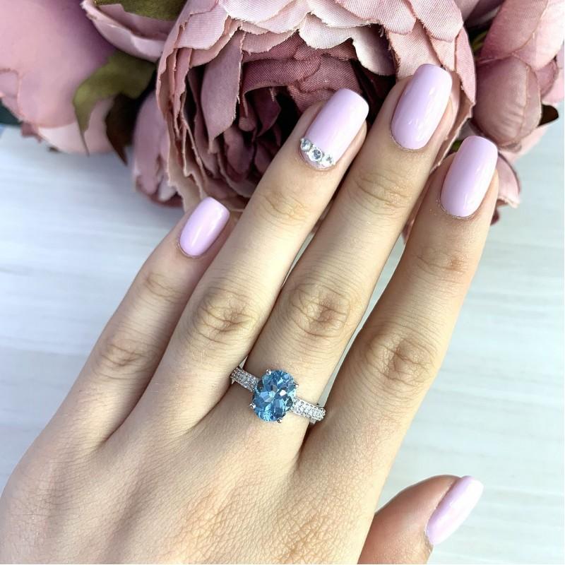 Серебряное кольцо SilverBreeze с натуральным топазом (2017370) 17 размер