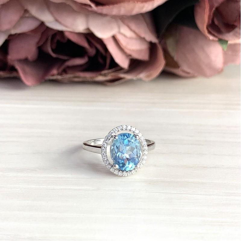 Серебряное кольцо SilverBreeze с натуральным топазом (2019015) 18.5 размер