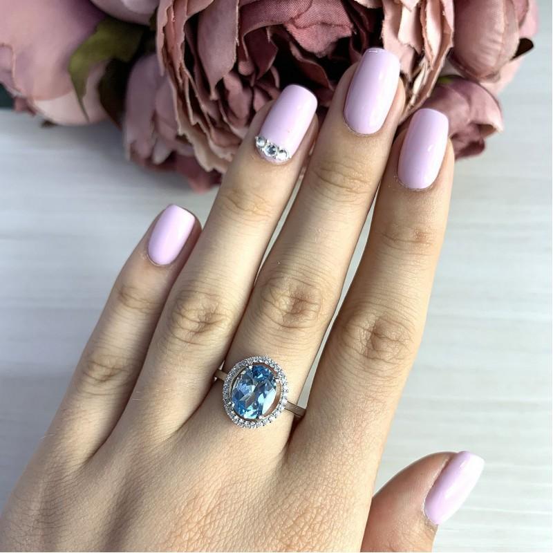 Серебряное кольцо SilverBreeze с натуральным топазом (2019015) 17.5 размер