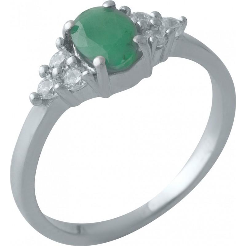Серебряное кольцо SilverBreeze с натуральным изумрудом (2011125) 18 размер