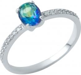 Серебряное кольцо SilverBreeze с натуральным мистик топазом (1949870) 18 размер