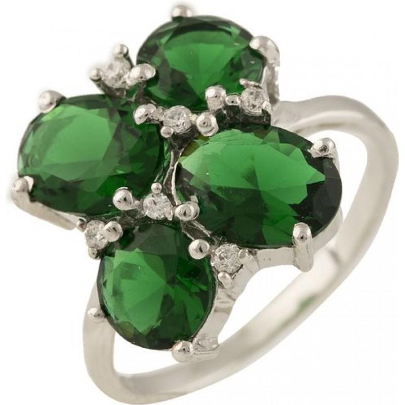 Серебряное кольцо SilverBreeze с натуральным кришталем, изумрудом (1233412) 16.5 размер