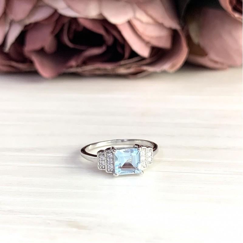 Серебряное кольцо SilverBreeze с натуральным топазом (2019053) 17.5 размер