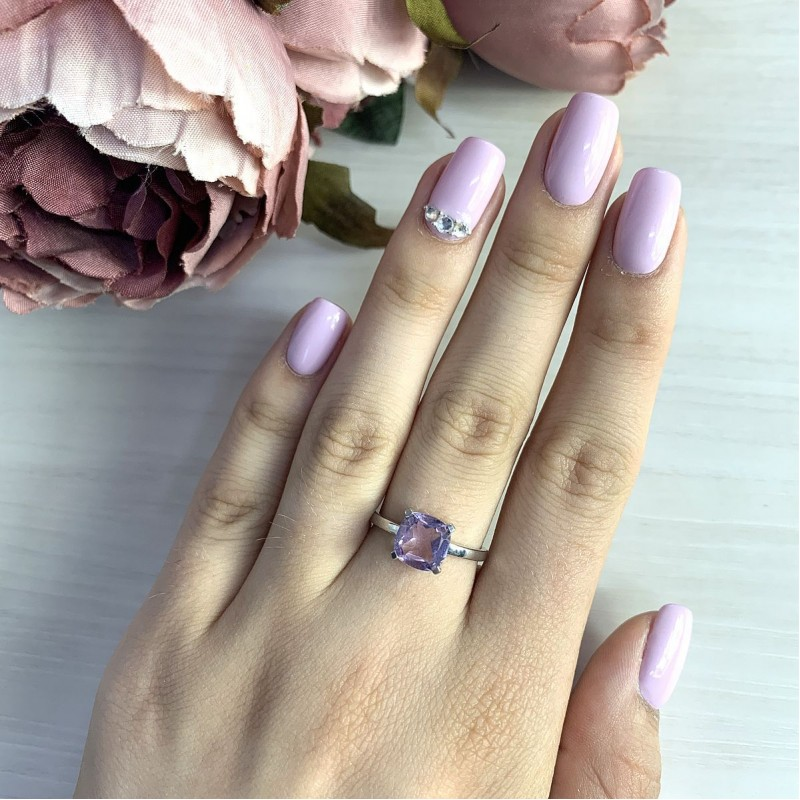 Серебряное кольцо SilverBreeze с натуральным аметистом (1969670) 18.5 размер