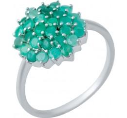 Серебряное кольцо SilverBreeze с натуральным изумрудом (1234709) 17.5 размер