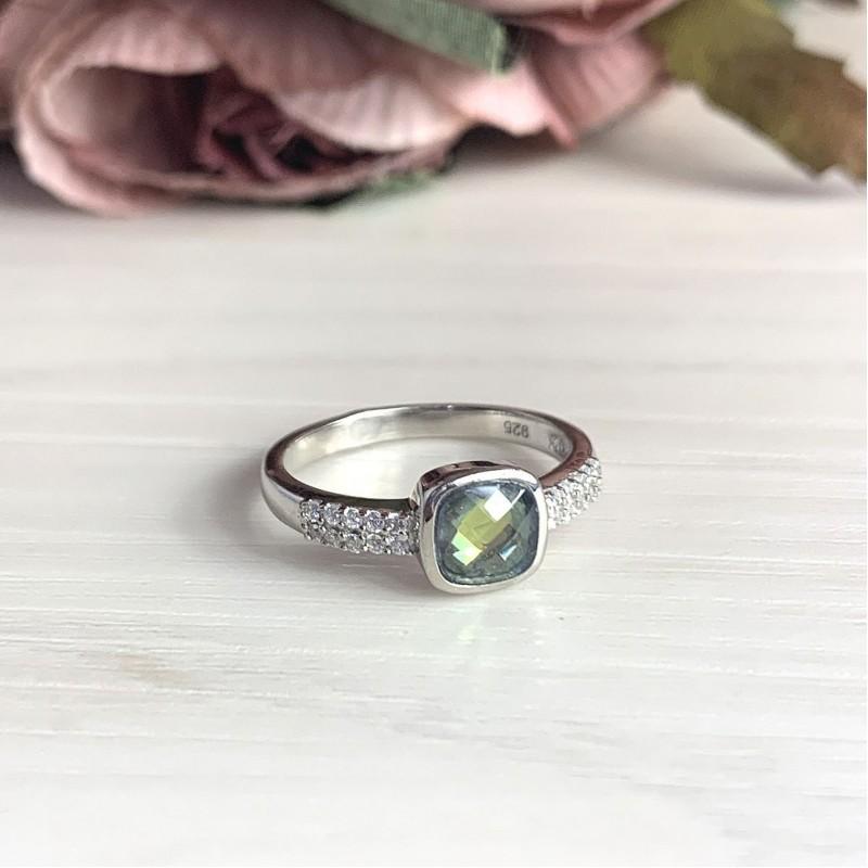 Серебряное кольцо SilverBreeze с натуральным мистик топазом (2017431) 18 размер