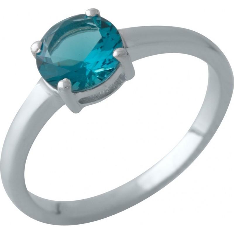 Серебряное кольцо SilverBreeze с натуральным топазом Лондон Блю (2012337) 18 размер