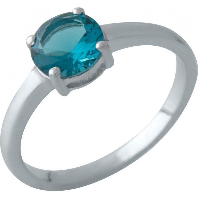 Серебряное кольцо SilverBreeze с натуральным топазом Лондон Блю (2012337) 17 размер