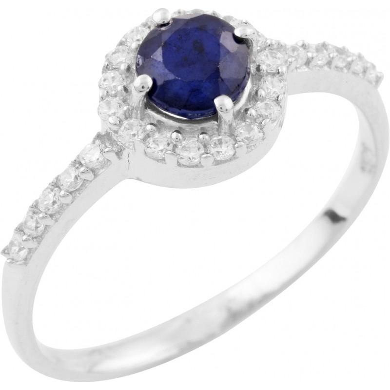 Серебряное кольцо SilverBreeze с натуральным сапфиром (1236611) 17.5 размер
